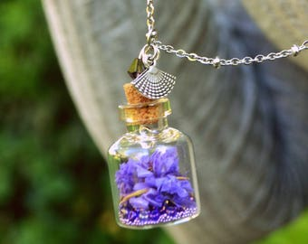 Flo, Amethyst necklace, small glass bottle with dried flowers & beads