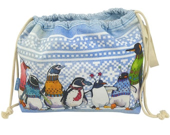 Knitters Project Bags, by Emma Ball, drawstring lined bag, Woolly Puffins, Sheep in Sweaters, Knitters, Penguins, storage, knitting bag