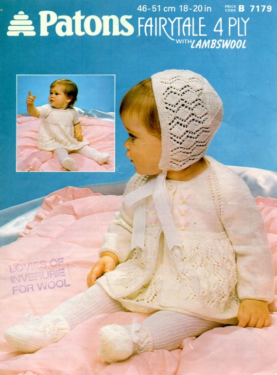 6a431bb69 PDF KNITTING PATTERN vintage baby girl pram set dress