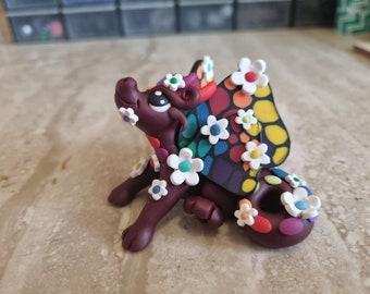 flower dragon sculpture, butterfly dragon figurine handmade using polymer clay, dragon model, miniature dragon, rainbow dragon art, cute