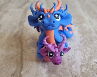 blue dragon with a baby, polymer clay dragon figurine, handmade dragon sculpture, one in a kind gift idea, tiny art, miniature dragon