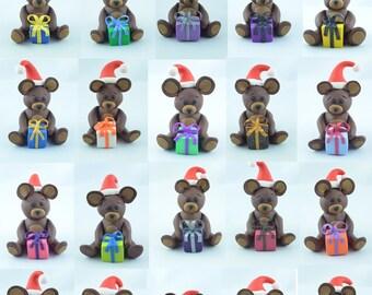 Christmas teddy bear, original Christmas gift, Christmas ornaments, gift for Christmas, handmade teddy bear, Christmas figurine,