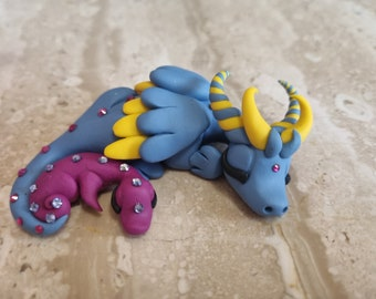 Blue dragon  sculpture handmade with Swarovski Crystals  and polymer clay, miniature dragon, original gift idea, tiny art, claymeeples