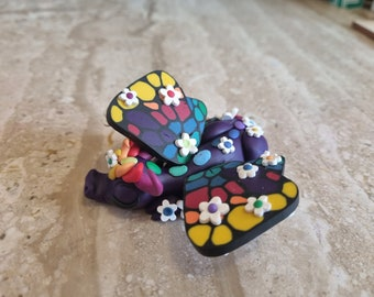 butterfly dragon sculpture handmade using polymer clay, miniature dragon statue, purple dragon figurine, cute clay creation, collectible art