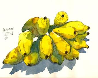 Bananas: Watercolor painting