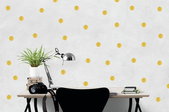 polka dot wall stickers / confetti decal / gold dots home | etsy