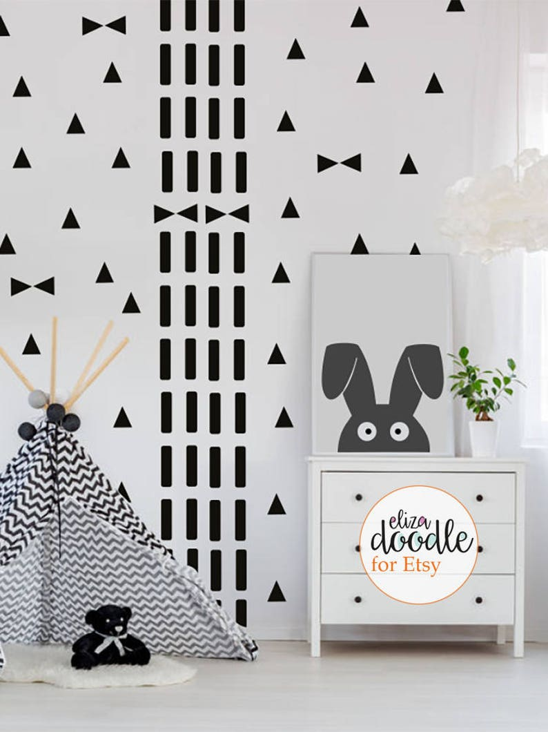 Confetti /& triangle children/'s bedroom complete decor pack nursery wall stickers  wall decals  removable stickers  Pack of wall stickers