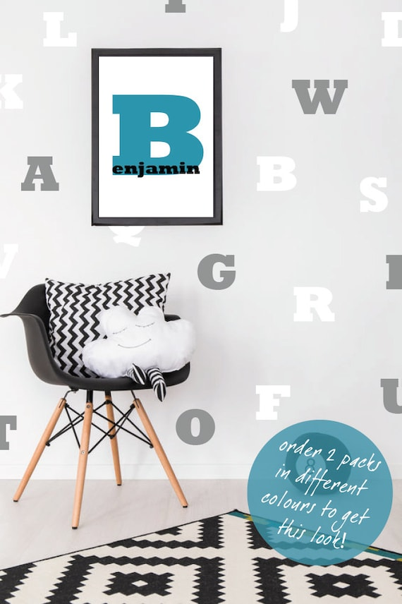 alphabet wall stickers / abc decal / letters nursery decor / | etsy