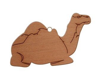Camel Sitting Wooden Christmas Ornament, Finished Wood Cut Out, Heirloom Ornament, Personalized Ornament