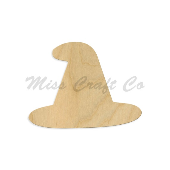 Laser Cut Unfinished Wooden Witch Hat Shape Wood Fall Cutout Natural Wood Witch Hat Cut Out DIY Craft Shape Witch Hat Wood Cutout