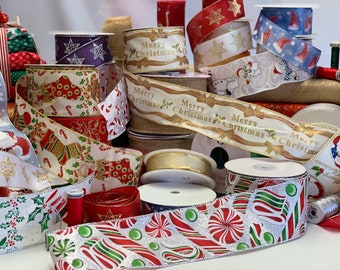 Wired Christmas ribbon, various designs