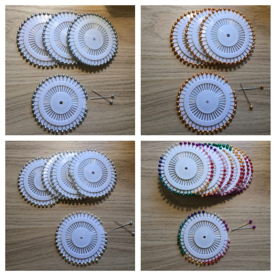 Pearl headed pin wheel 4cm 40 per wheel. 1.5 inch