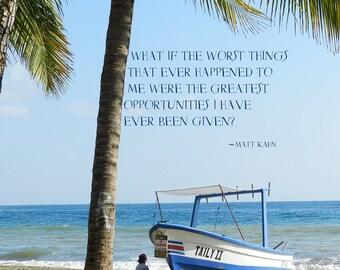 Costa Rican Beach Photography, Costa Rican Beach Art Print, Boat on Shore Photoraphy, Palm Tree Photoraphy, Seaside Art, Childhood Art
