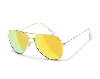 542f95240c81b Sensolatino® Polarized Sunglasses Series Aviano Large Gold Frame With Gold Polarized  Lenses