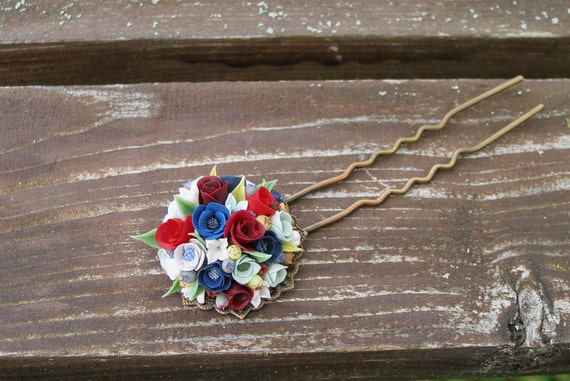 Jewelry Hair accessory Delicate flowers.Red roses. Polymer clay Automatic hairpin