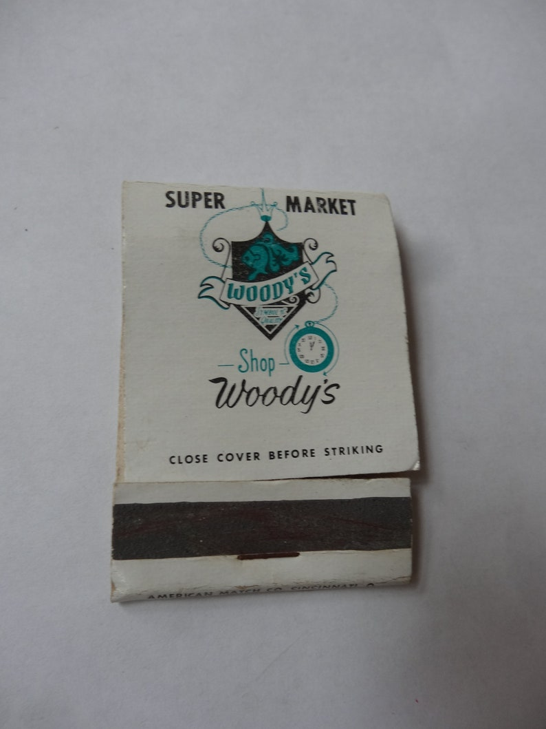 WOODY'S Store Grocery Supermarket West Carrollton Matchbook Dixie Drive  1980's Dayton Ohio