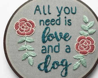 Embroidery Kit, All you need is love, Embroidery Pattern, Embroidery Hoop, Embroidery Kit Beginner, Hoop Art, DIY Craft, Hoffelt and Hooper