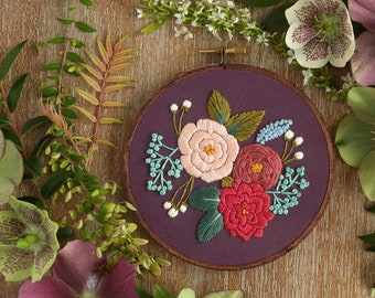 DIY Beginner Embroidery Kit, Embroidery Hoop Art, Embroidery Pattern, Embroidery Kit Beginner, Modern Hand Embroidery Kit, Hoffelt Hooper