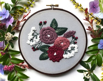 Beginner Embroidery Kit Embroidery Pattern Modern Embroidery Hoop Art