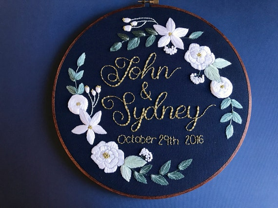 Custom Embroidery Design Wedding Anniversary 5 Year Etsy
