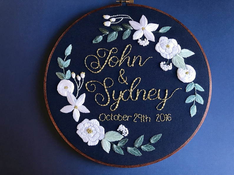 Custom Embroidery Design Wedding Anniversary 5 Year Anniversary Wedding  Gift Bridal Gift Custom Wedding Personalized Gift Hoffelt and Hooper