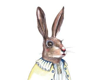 Limited Edition Print: Lady Rabbit Illustration (Animal Portrait Series)