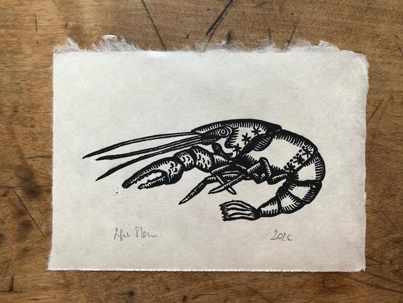 Original Mini Lino Print Crawfish