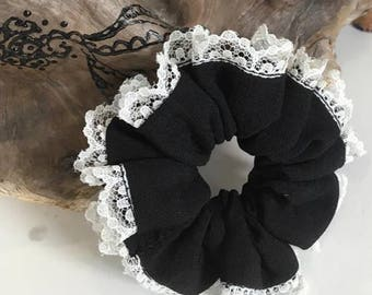 Black hair elastic with white lace