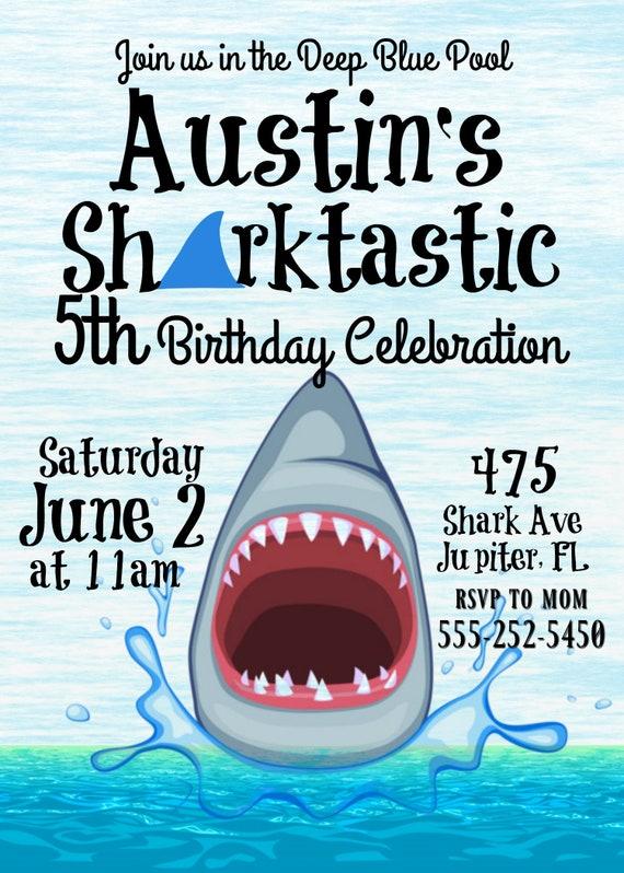 Shark Birthday Party Invitation Sharktastic Ocean Theme Printable Digital Template Decorations Swim Invites