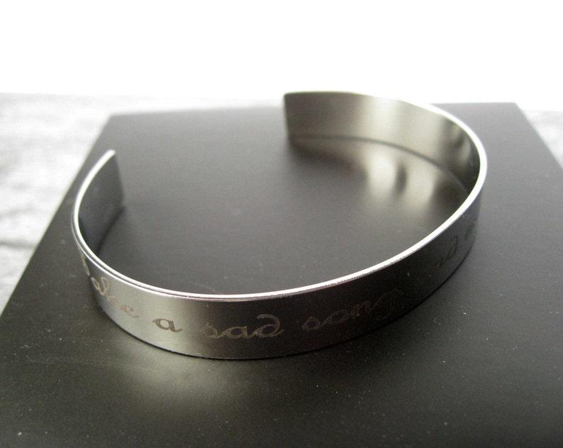 Metal personalized bracelet Custom engraved cuff Mens bracelets Stainless steel laser engraved jewelry