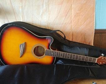 KONA 6-String Left-Handed Acoustic Electric Thin Guitar- Gator Case,Model K2LTSB
