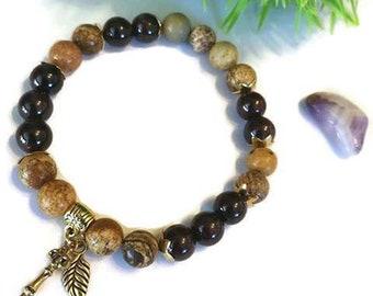 Vitality-bracelet for woman, jasper and garnet, january birthstone, protection bracelet, digestion bracelet, expandable
