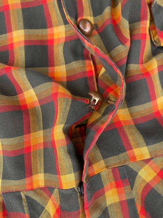 Vintage 1940s plaid summer dress | 50s cotton dre… - image 5