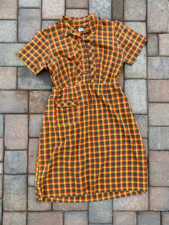 Vintage 1940s plaid summer dress | 50s cotton dres