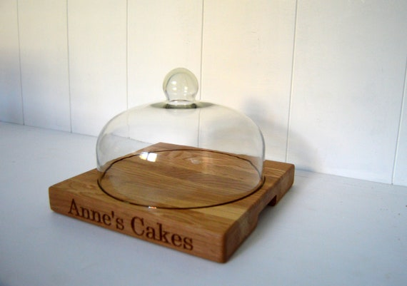 Cake Stand Personalised Oak Cake Board With Glass Dome Cake Board Cake Board Wooden Cake Stand
