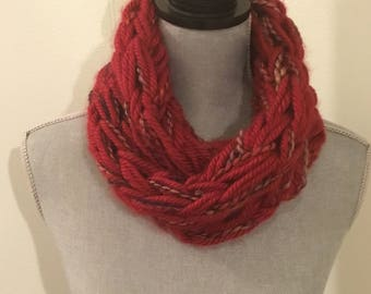 Red infinity scarf, adult scarf, lightweight fall scarf, handmade, arm knitted scarf, knitted cowl