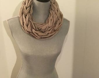 Infinity scarf, adult scarf, lightweight fall scarf, handmade, arm knitted scarf, knitted cowl