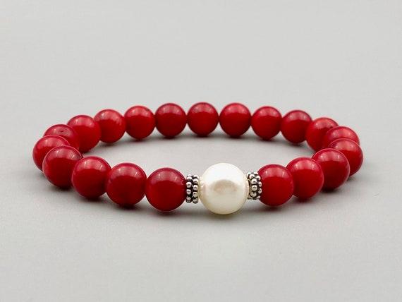 estilos clásicos el más barato talla 40 Pulsera de coral rojo con plata de ley y perla blanca Pulsera   Etsy