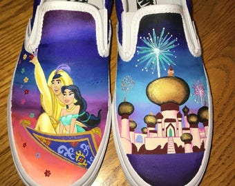 Aladdin and Jasmine painted shoes