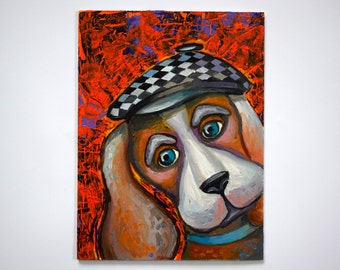 Pet Portrait Painting Oil painting dog Small painting oil original dog painting on canvas art painting Animals Painting Illustration dog art