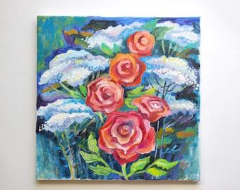 Flowers oil painting Roses Realism flowers Oil painting on canvas Roses oil painting original Art Realistic flowers Oil Painting realistic