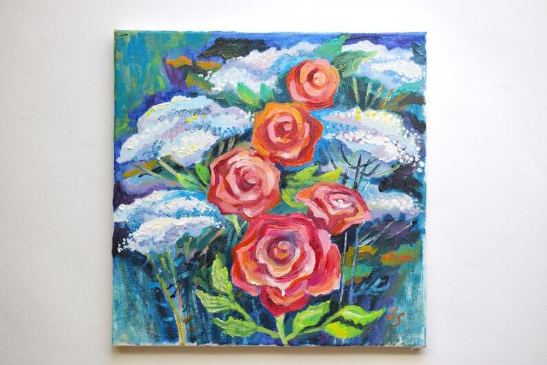 Fiori fiori olio su tela realismo Rose fiori dipinto ad olio | Etsy