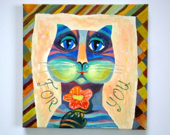 Painting on canvas cat Oil painting abstract on canvas Abstract oil painting cat oil painting Cats painting oil Original  painting for you
