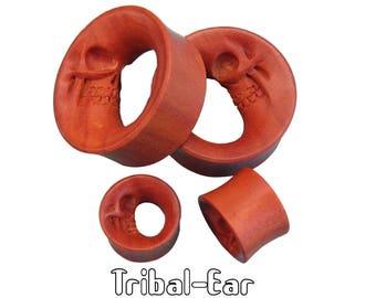 piercing plugs moon skull sawo wood tunnels Tribal-Ear jewelry by Body Ethnic