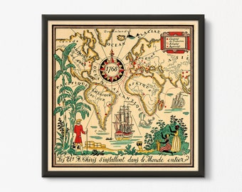 French World Map Etsy - Printable antique world map
