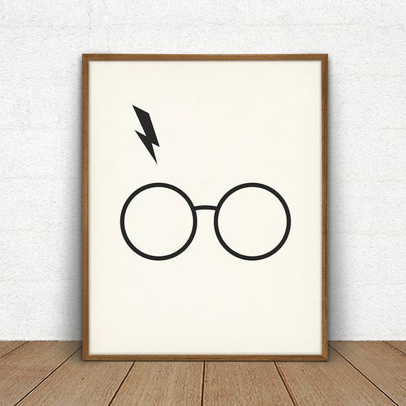 image about Harry Potter Glasses Printable titled Harry Potter Gles Lightning Bolt, Harry Potter Printable Poster, Supporter Artwork Present, Geekery Artwork Decor Print, Harry Potter Print, Geek Artwork