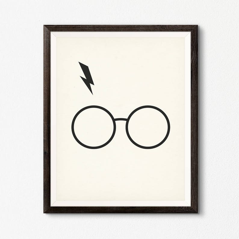 graphic regarding Harry Potter Glasses Printable known as Harry Potter Gles Lightning Bolt, Harry Potter Printable Poster, Admirer Artwork Reward, Geekery Artwork Decor Print, Harry Potter Print, Geek Artwork