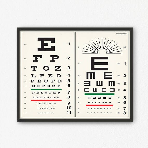 Eye Chart Print Digital Download Optometrist Gift Vintage Etsy