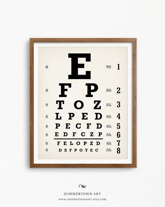 Eyechart Art Print Digital Download Snellen Eye Chart Poster Etsy
