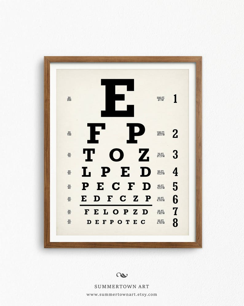 image relating to Children's Eye Chart Printable titled Eyechart Artwork Print, Electronic Obtain, Snellen Eye Chart Poster Printable, Optometrist Reward, Oculist Chart Optician Wall Artwork, Optometry Decor